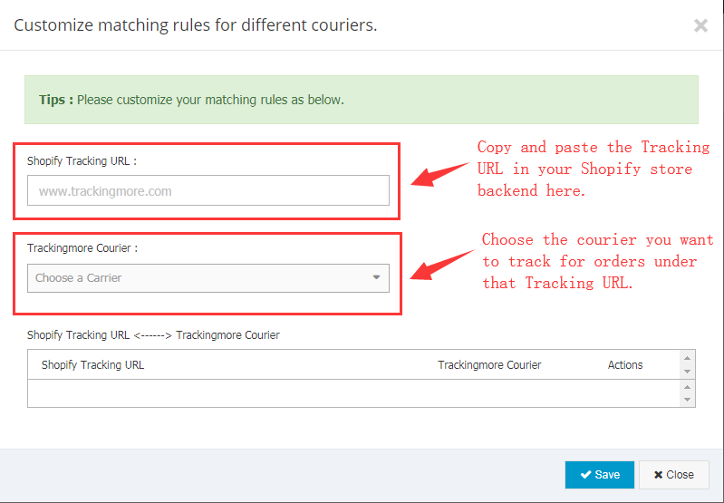 Shopify - Customized Courier-matching Rules - TrackingMore